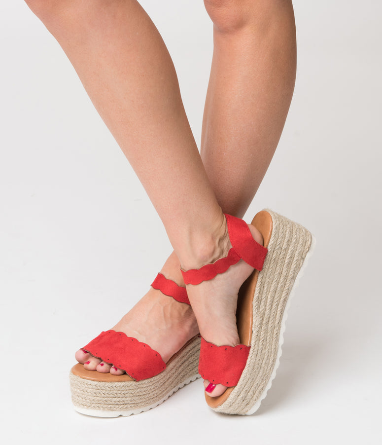 Retro Style Red Suede & Woven Platform Sandals