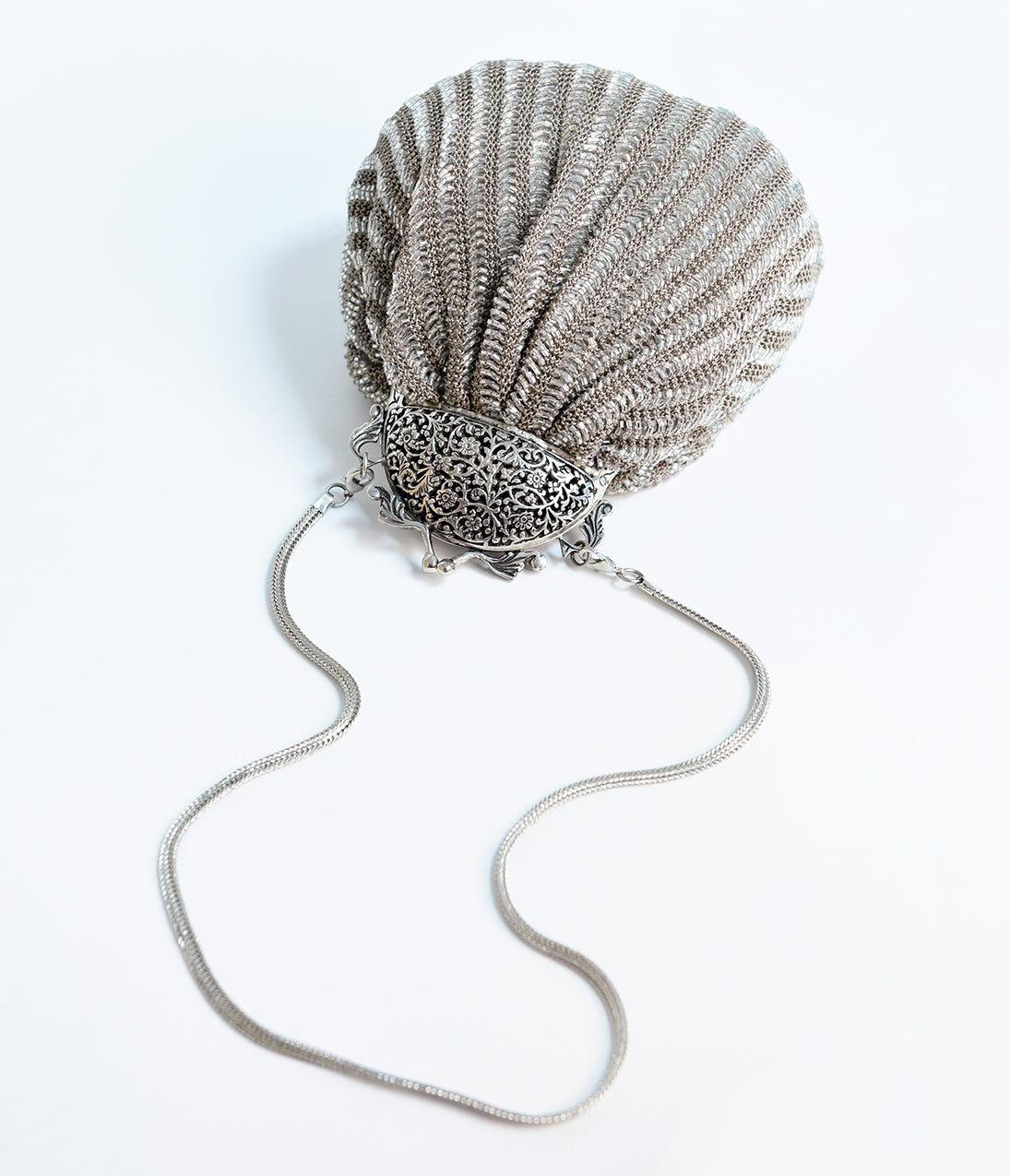 Vintage & Retro Handbags, Purses, Wallets, Bags Deco Style Silver Crochet Beaded Top Frame Clutch $118.00 AT vintagedancer.com