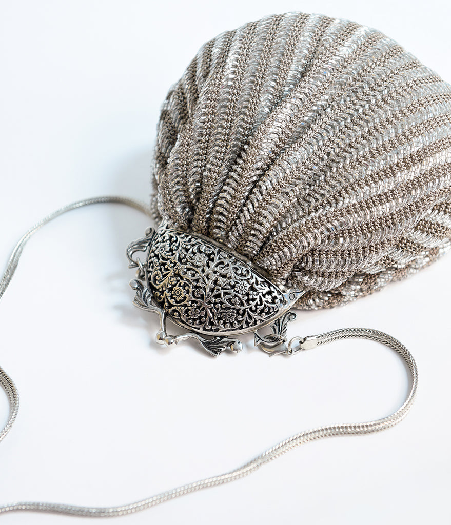 Deco Style Silver Crochet Beaded Top Frame Clutch