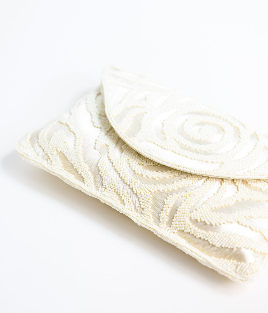 Ivory Beaded & Embroidered Envelope Clutch