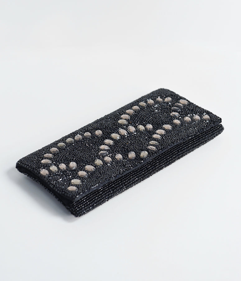 Black Beaded & Silver Gems Envelope Clutch