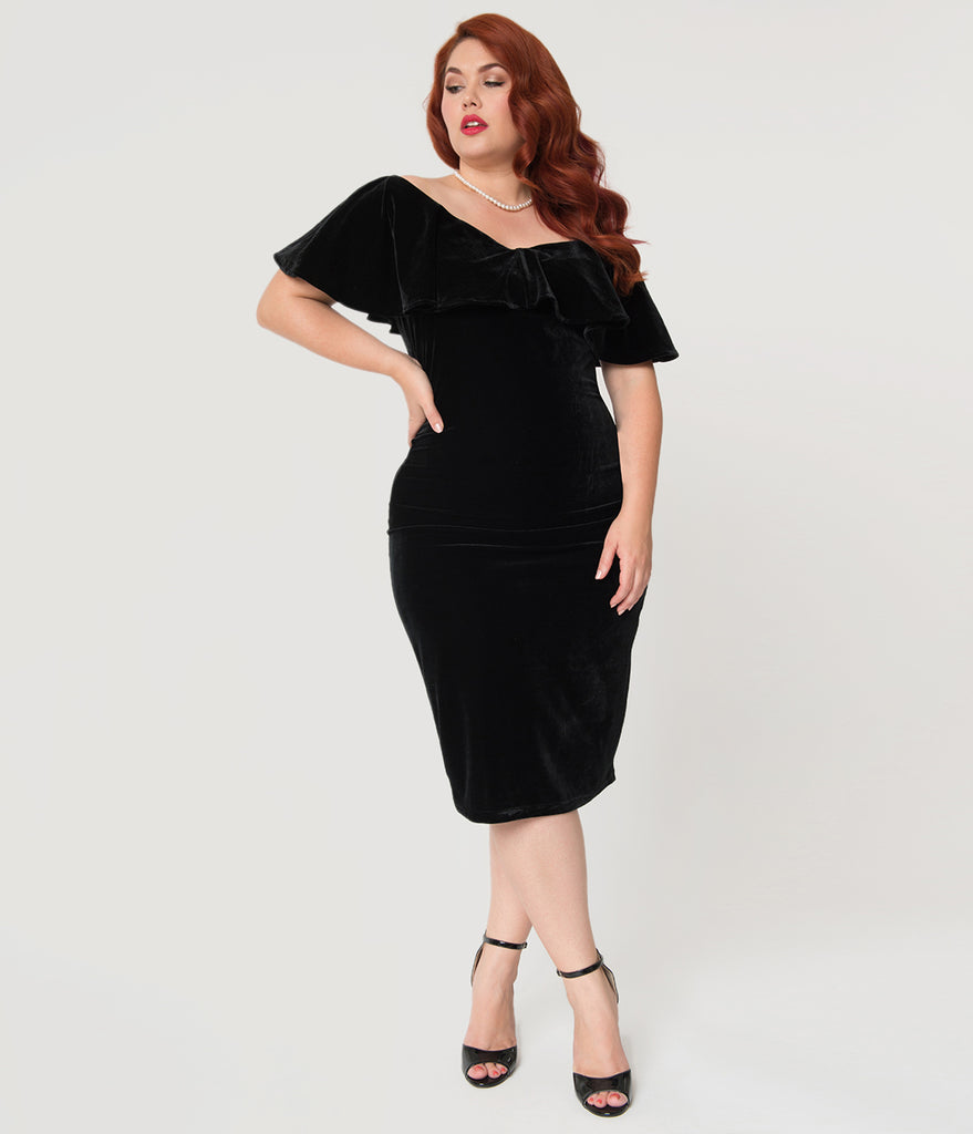 Unique Vintage Plus Size Black Velvet Draped Off Shoulder Sophia Wiggle Dress
