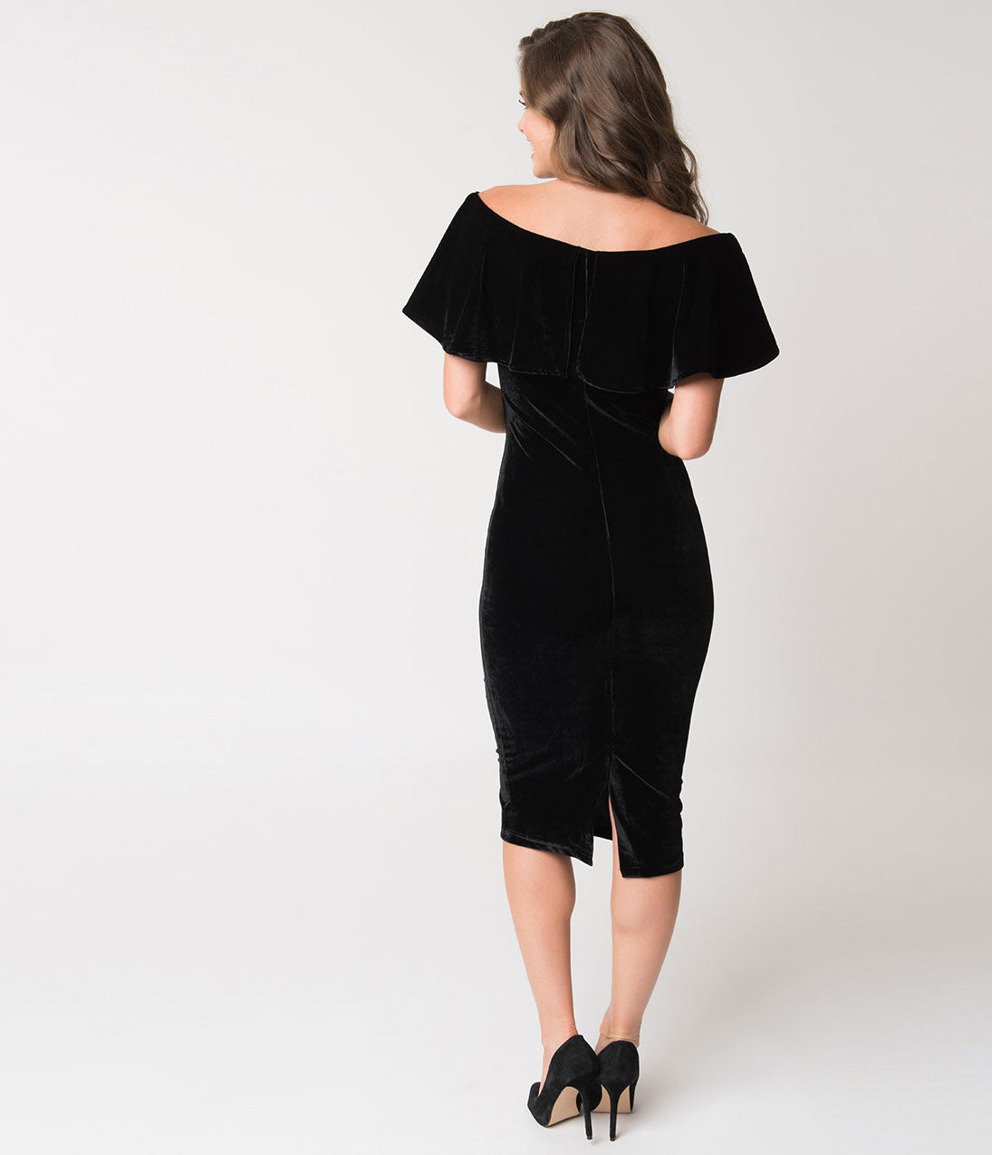 a427f5f2f0b Unique Vintage Black Velvet Draped Off Shoulder Sophia Wiggle Dress