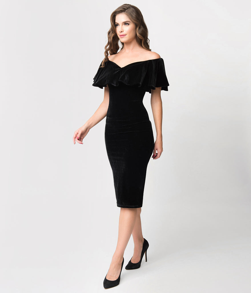 Unique Vintage Black Velvet Draped Off Shoulder Sophia Wiggle Dress