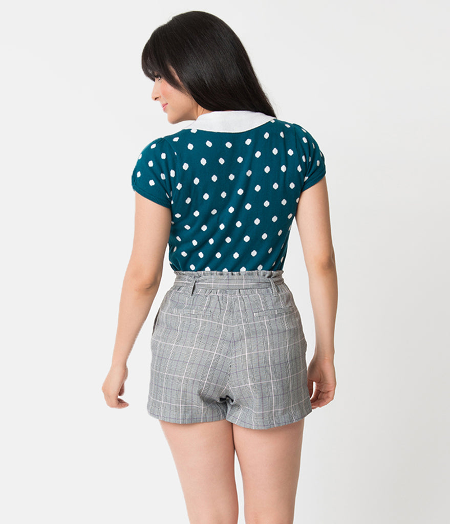 Teal & White Polka Dot Cotton Knit Short Sleeve Sweater