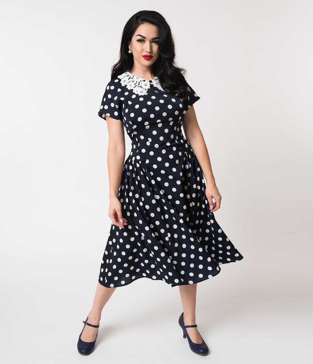 1940s Dresses | 40s Dress, Swing Dress Unique Vintage 1940S Navy  White Polka Dot Lace Collar Margie Dress $88.00 AT vintagedancer.com