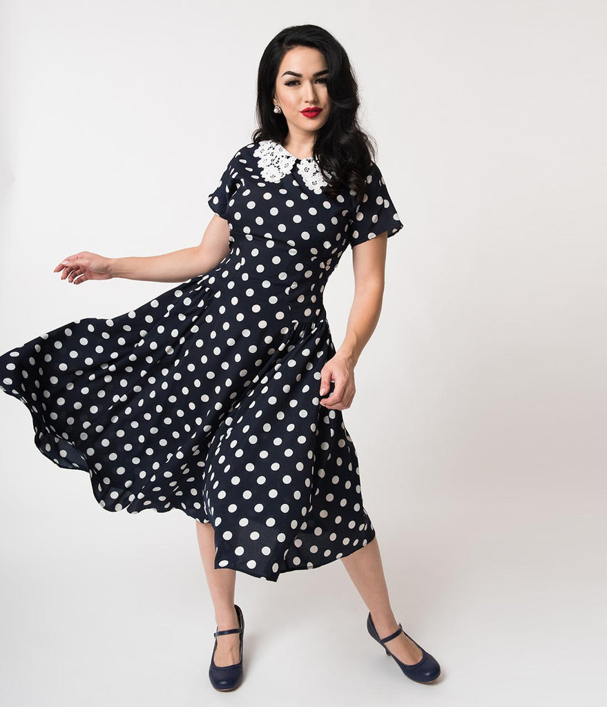 b22ad23f863a Unique Vintage 1940s Navy & White Polka Dot Lace Collar Margie Dress