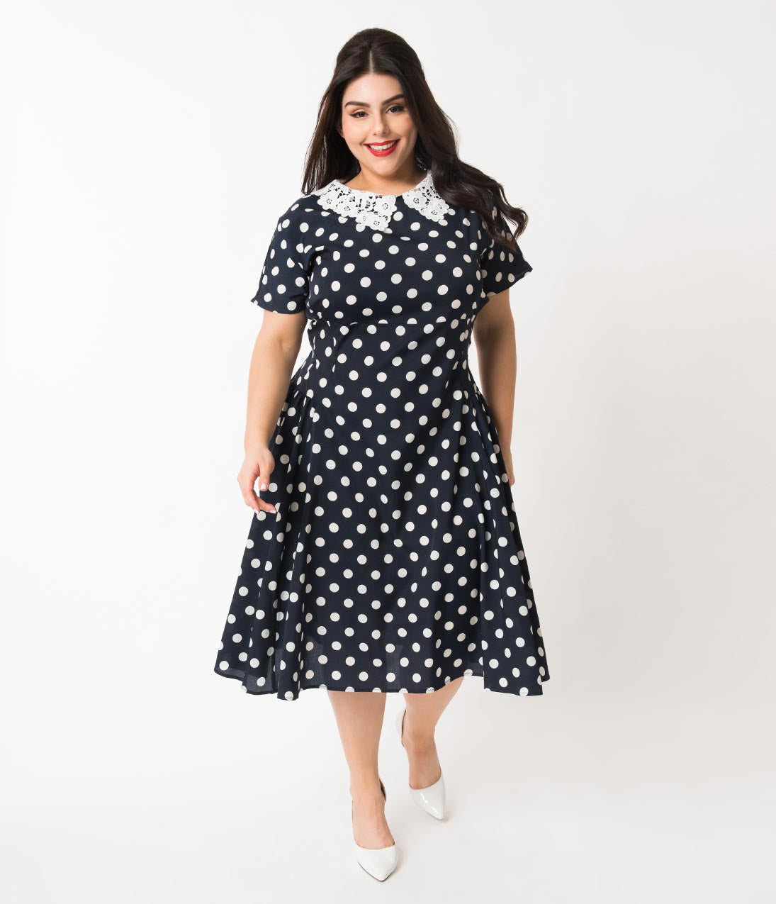 Vintage Tea Dresses, Floral Tea Dresses, Tea Length Dresses Unique Vintage Plus Size 1940S Navy  White Polka Dot Lace Collar Margie Dress $88.00 AT vintagedancer.com