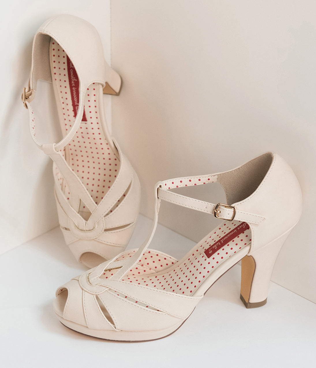 1920s Style Shoes B.a.i.t. Cream Ivory Leatherette Peep Toe T-Strap Lacey Heels $76.00 AT vintagedancer.com