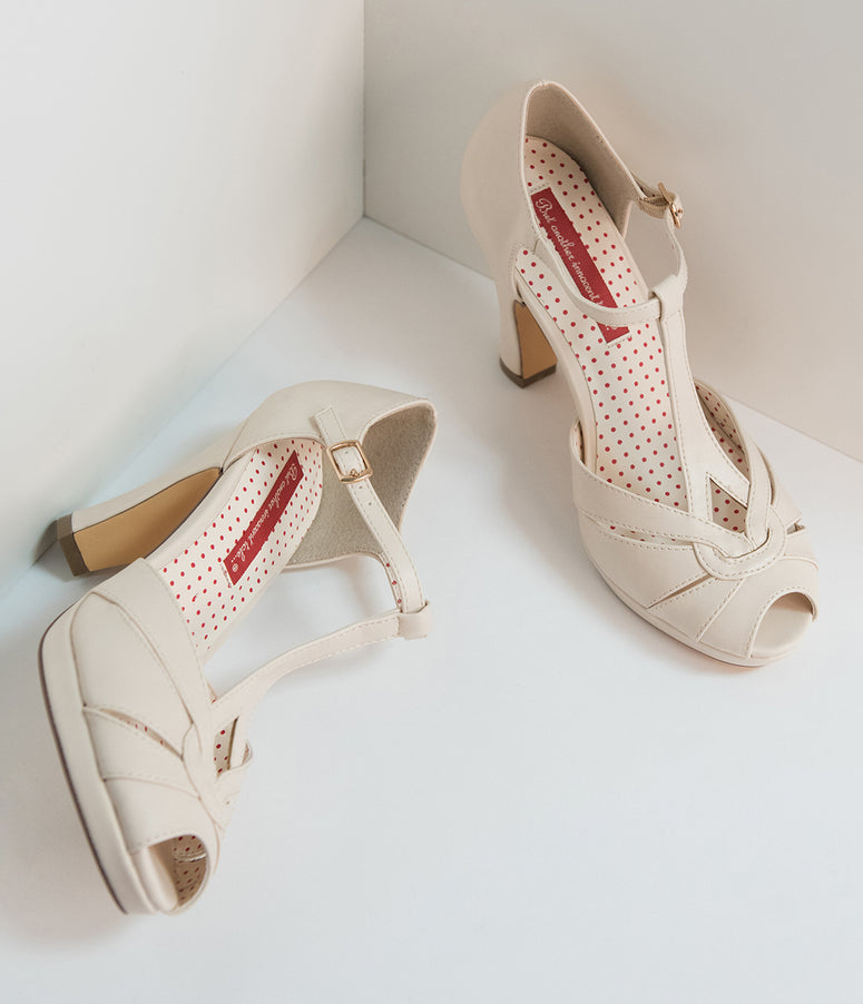 B.A.I.T. Cream Ivory Leatherette Peep Toe T-Strap Lacey Heels