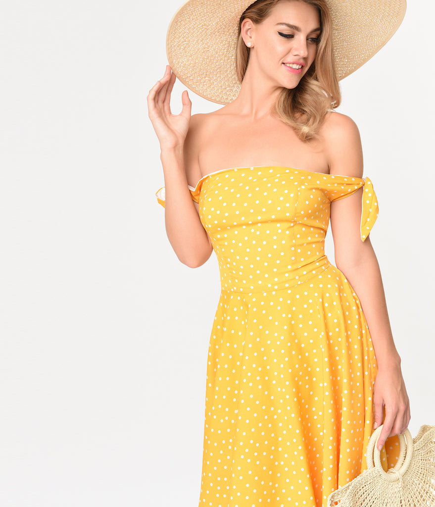 Mustard Yellow & Ivory Dotted Crepe Taylor Swing Dress