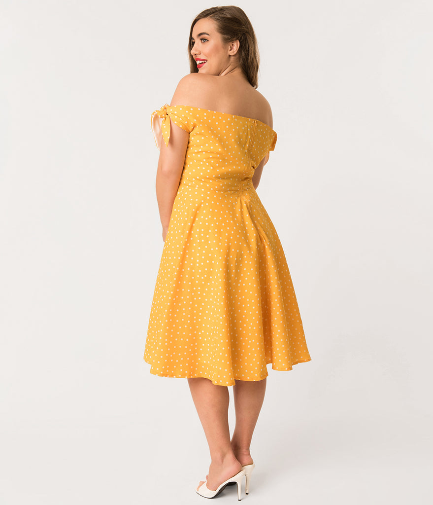 Plus Size Mustard Yellow & Ivory Dotted Crepe Taylor Swing Dress