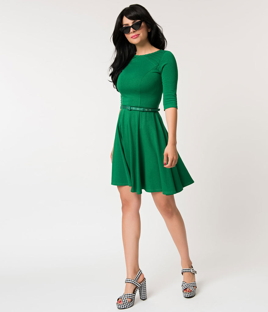 Unique Vintage Green Knit Half Sleeve Fit & Flare Dress