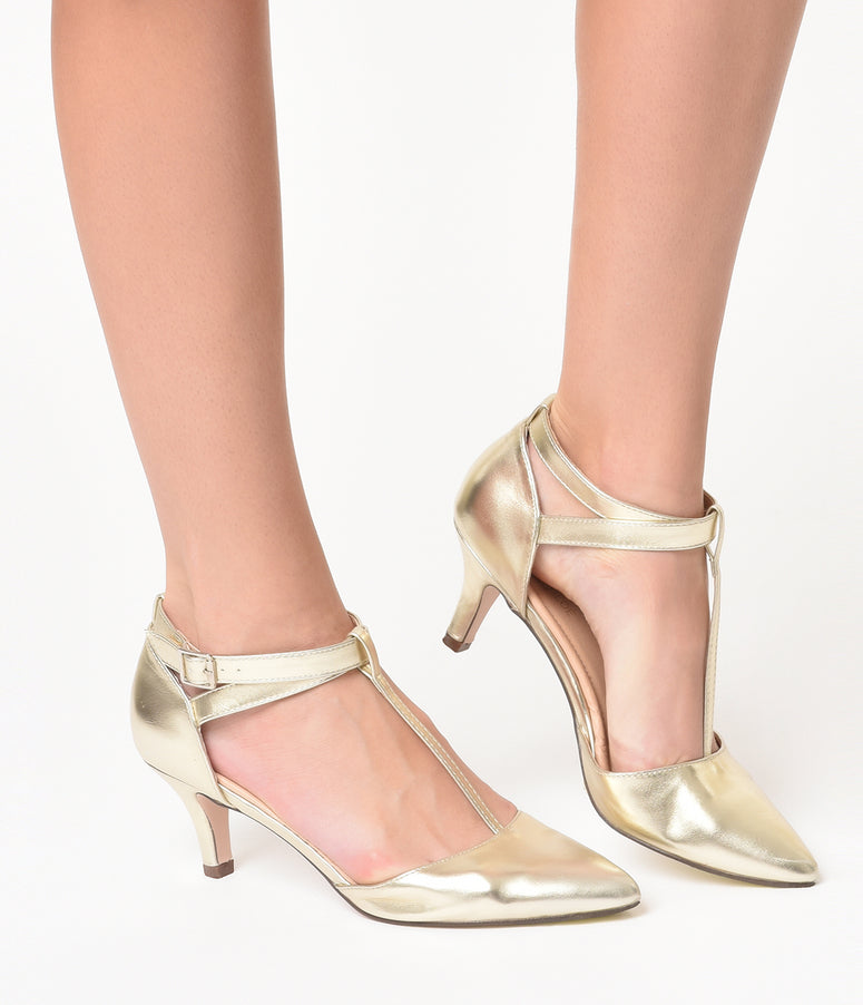 Metallic Gold Leatherette Pointed Toe Ellie T-Strap Heels