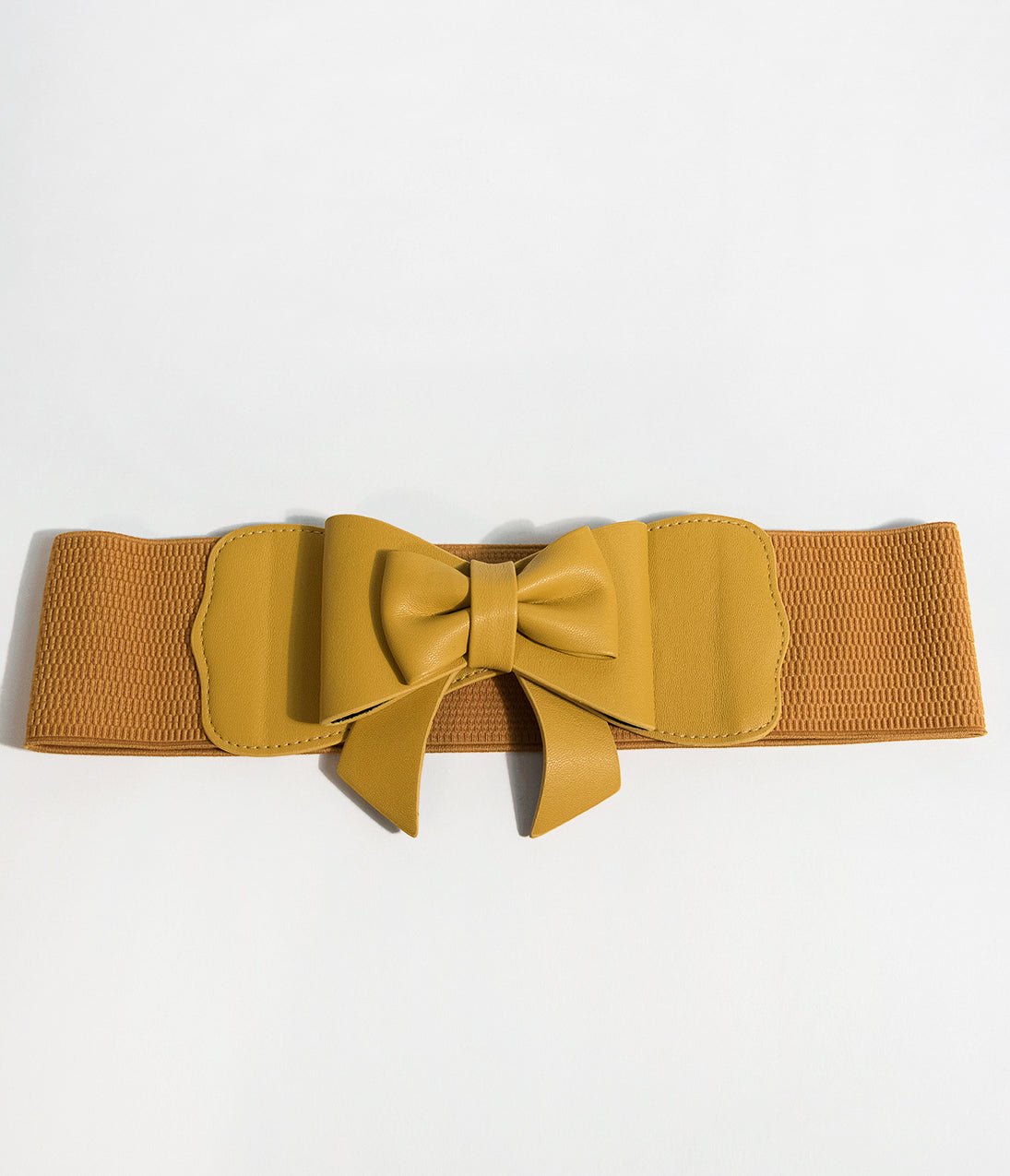 Vintage Wide Belts, Cinch Belts 40s, 50s Belts Banned 1950S Pin Up Mustard Yellow Leatherette Play It Right Bow Belt $16.00 AT vintagedancer.com