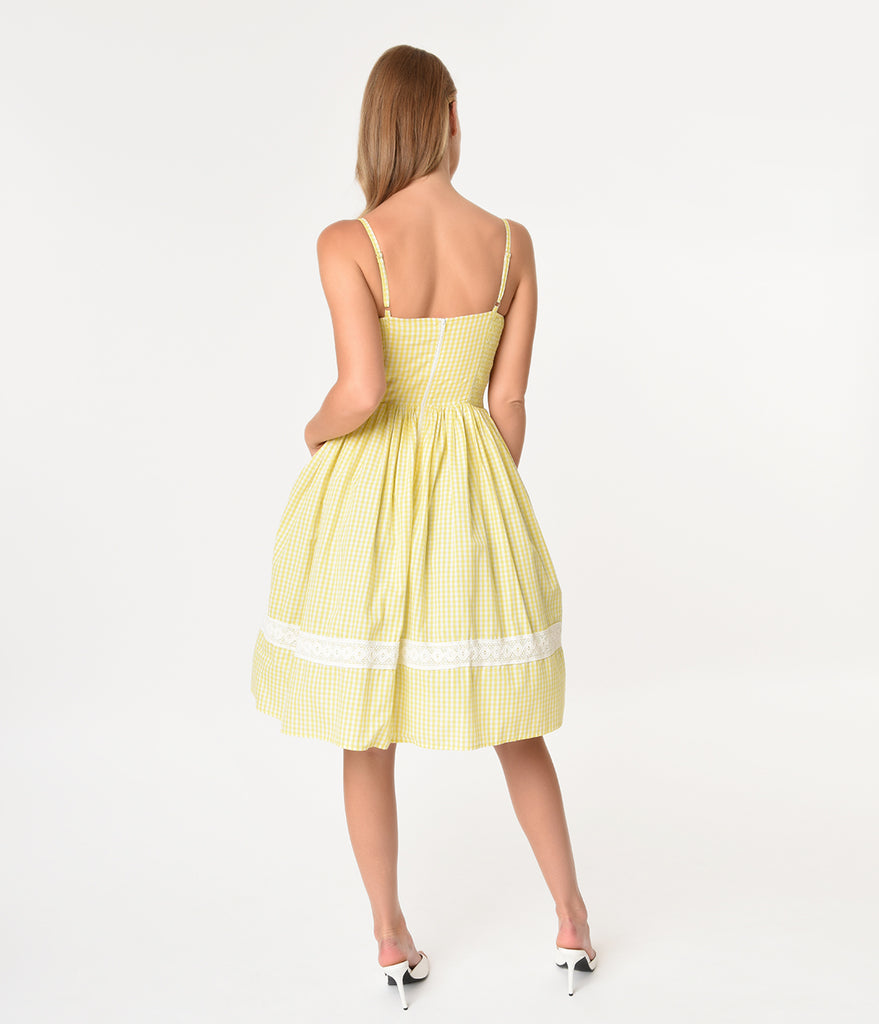 Vintage Style Yellow & White Gingham Cotton Gail Swing Dress