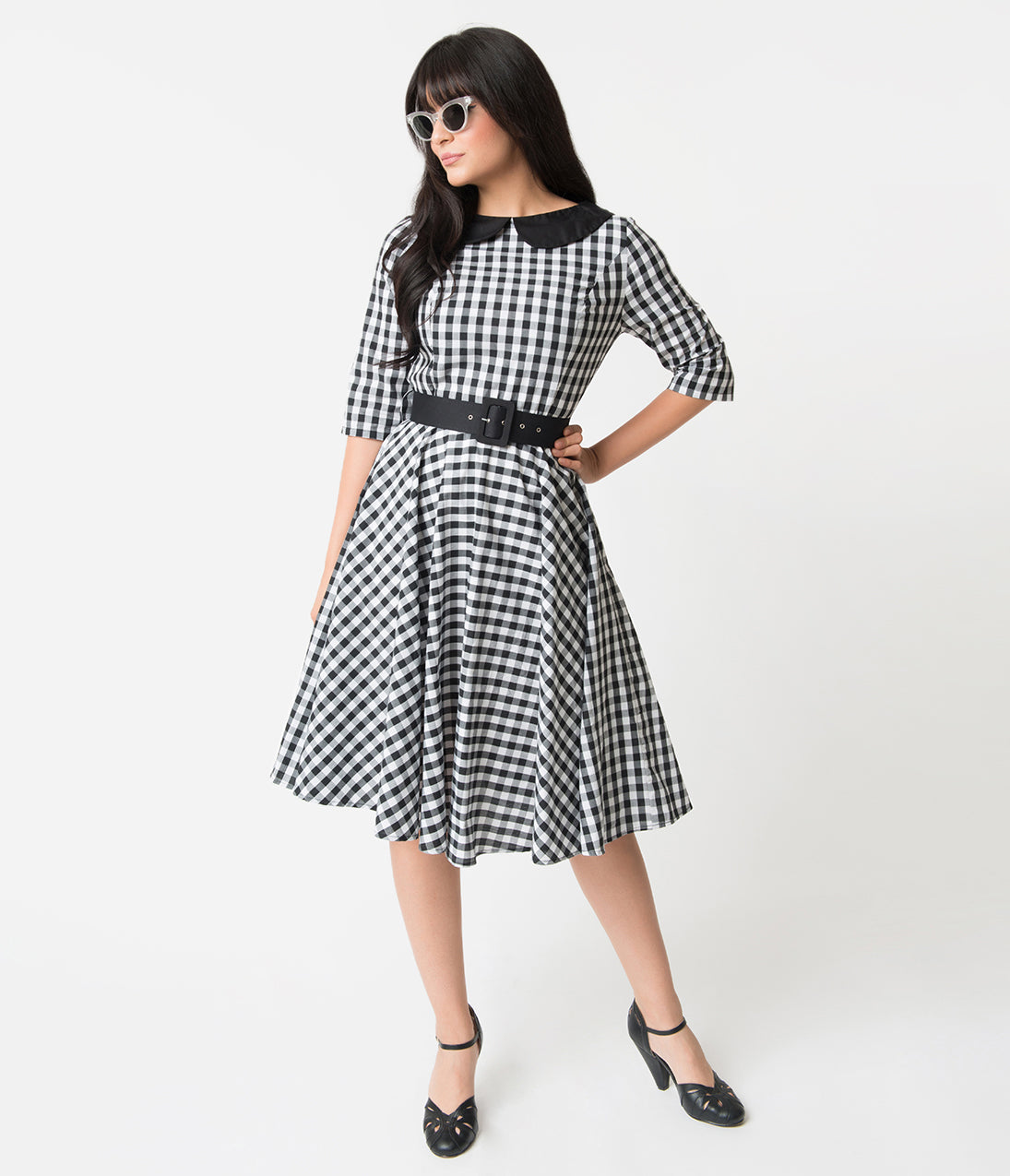 What Did Women Wear in the 1950s? 1950s Fashion Guide Black  White Gingham Cotton Half Sleeve Emily Swing Dress $68.00 AT vintagedancer.com