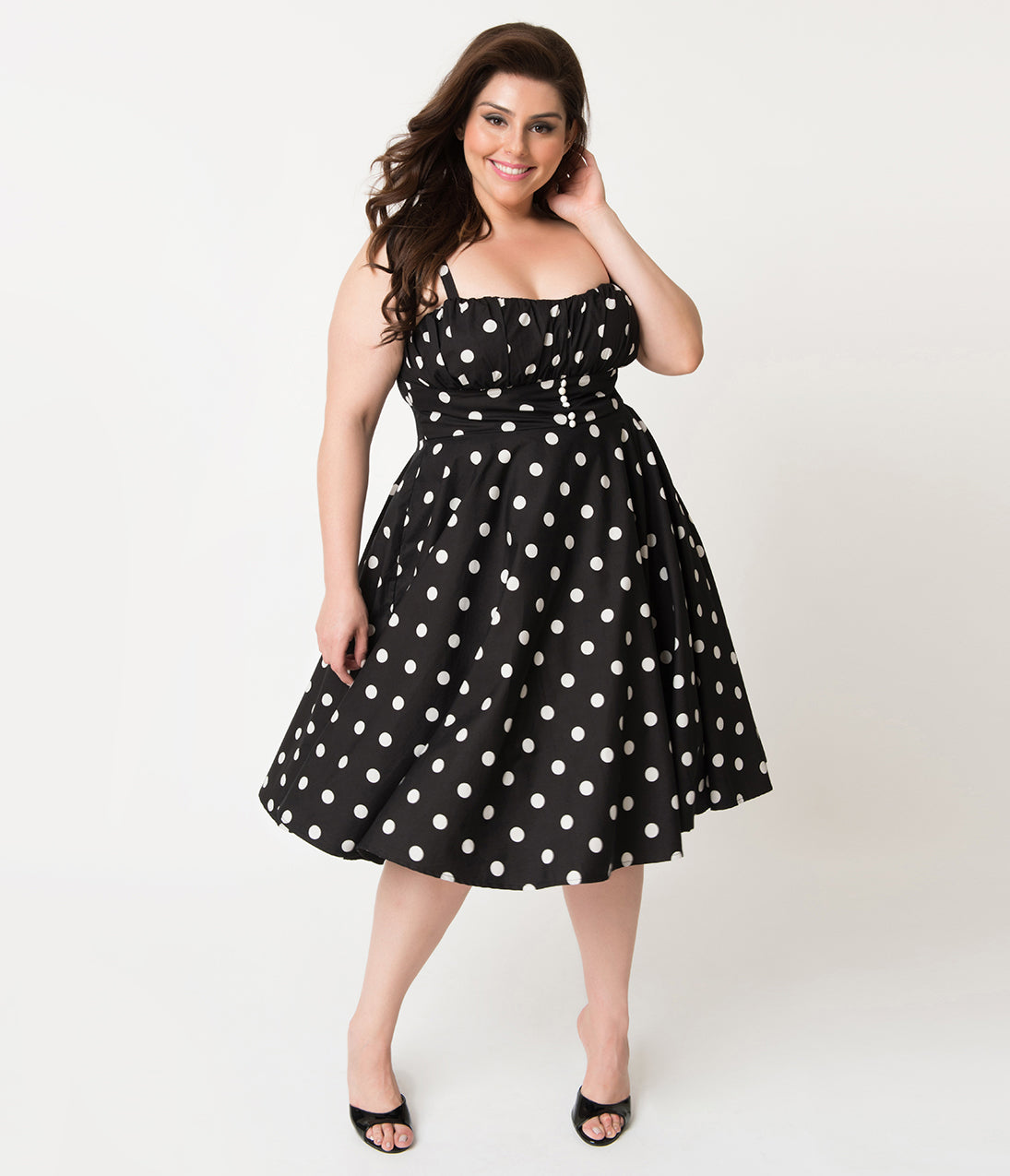 Polka Dot Dresses: 20s, 30s, 40s, 50s, 60s Plus Size Retro Style Black  White Dot Cotton Bonnie Swing Dress $68.00 AT vintagedancer.com