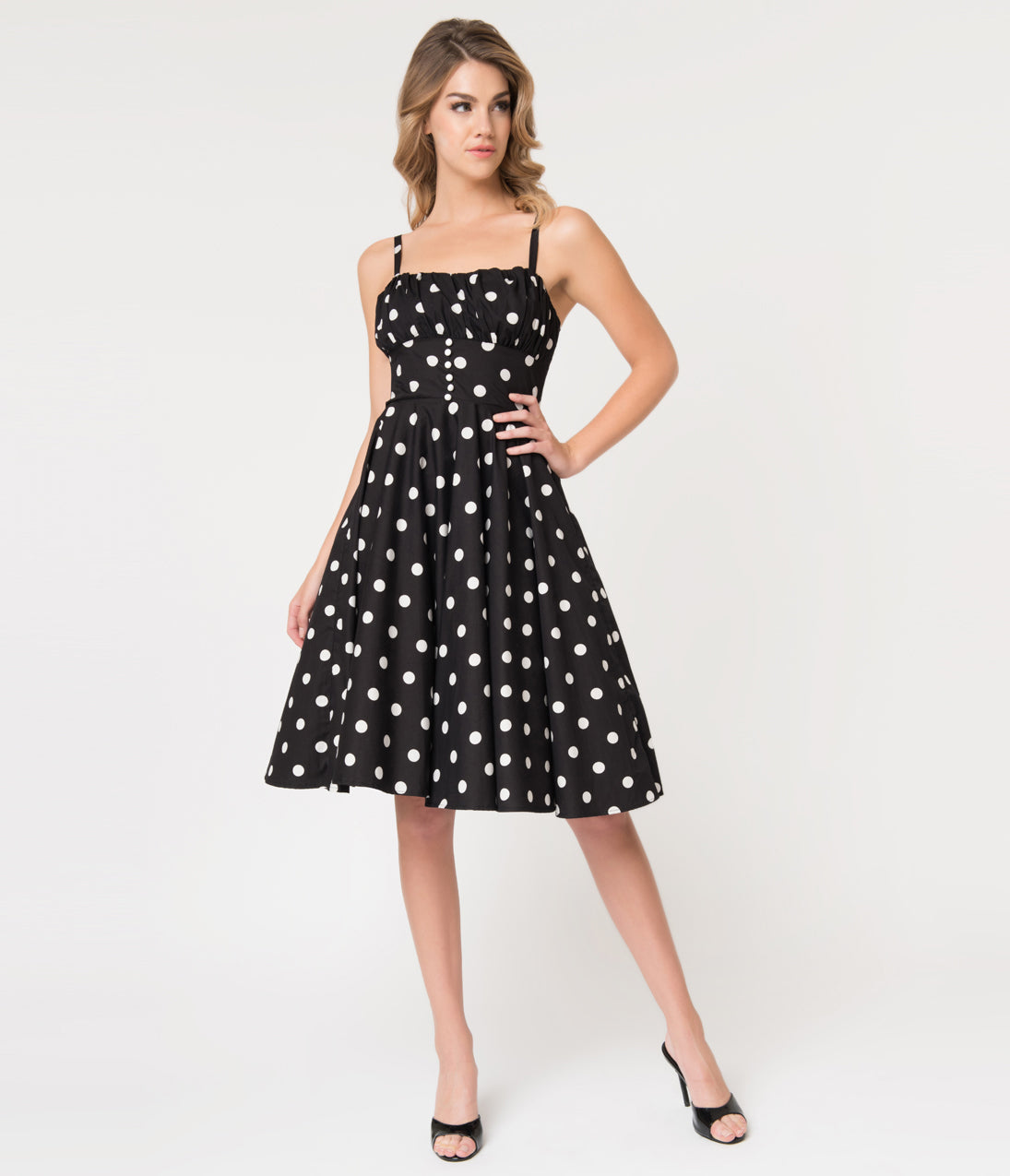 Vintage Polka Dot Dresses – 50s Spotty and Ditsy Prints Retro Style Black  White Dot Cotton Bonnie Swing Dress $68.00 AT vintagedancer.com