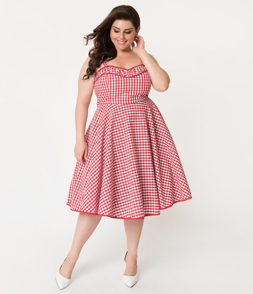 Plus Size Red & White Gingham Cotton Angie Rockabilly Swing Dress