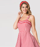 Red & White Gingham Cotton Angie Rockabilly Swing Dress