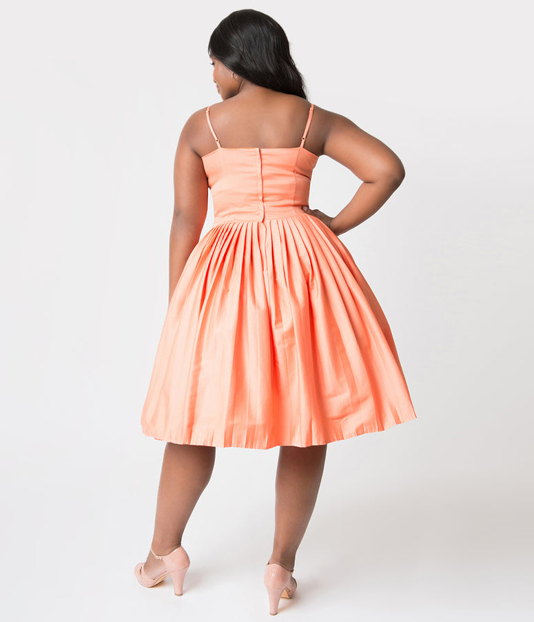 Plus Size 1950s Style Peach Pleated Clementine Swing Dress
