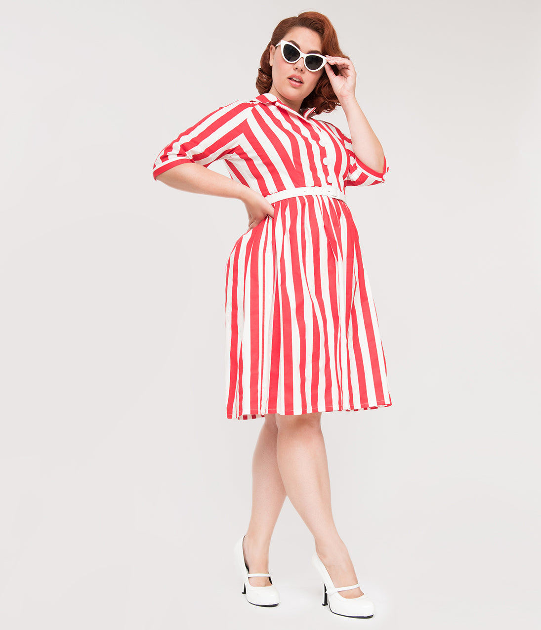 1950s Swing Dresses | 50s Swing Dress Plus Size 1950S Style Red  White Stripe Patty Cotton Flare Dress $98.00 AT vintagedancer.com