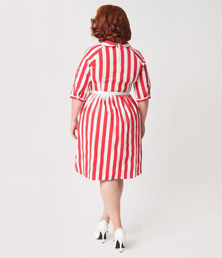 Plus Size 1950s Style Red & White Stripe Patty Cotton Flare Dress