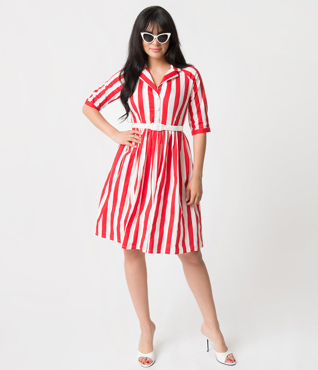 1950s Costumes- Poodle Skirts, Grease, Monroe, Pin Up, I Love Lucy 1950S Style Red  White Stripe Patty Cotton Flare Dress $78.00 AT vintagedancer.com