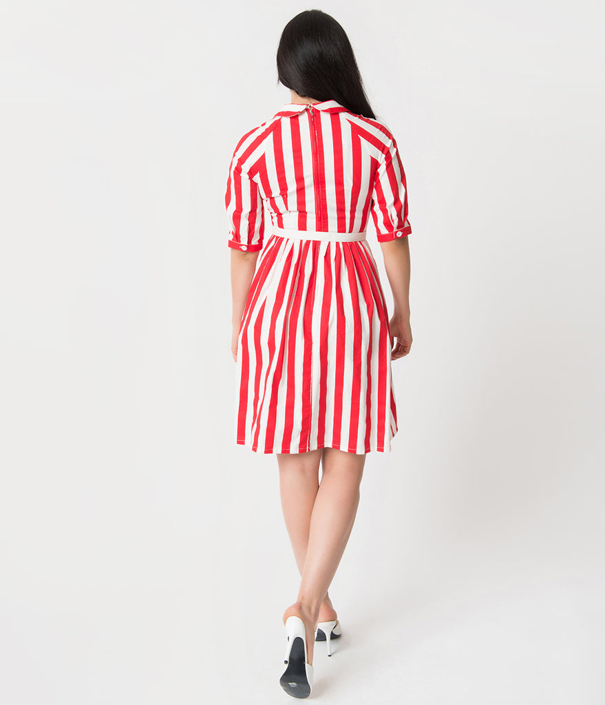 1950s Style Red & White Stripe Patty Cotton Flare Dress