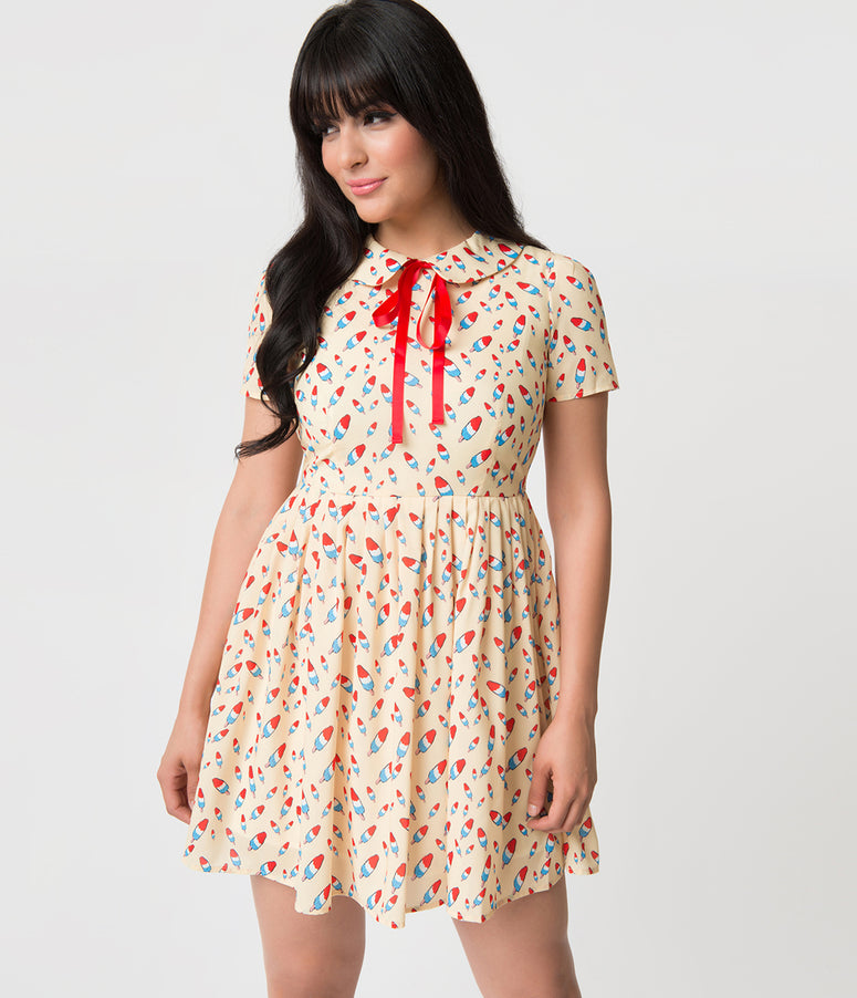 Retro Style Cream & Popsicle Print Short Sleeve Mod Flare Dress