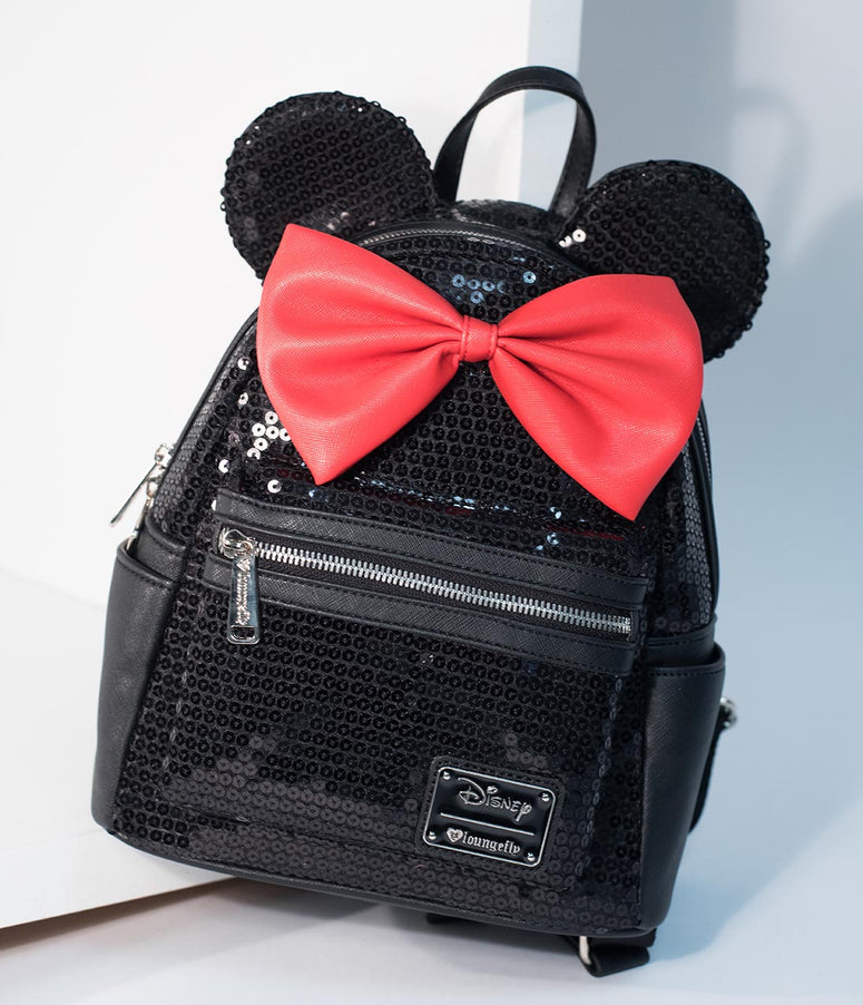 Loungefly Black Sequin & Red Bow Leatherette Minnie Mouse Mini Backpack