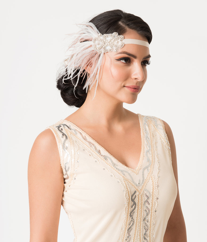 1920s Style Pink & White Feather Crystal Ribbon Headband