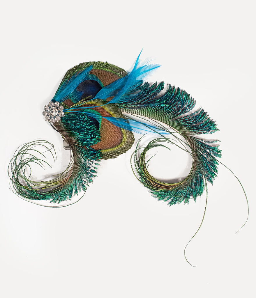Vintage Style Peacock Feather & Silver Rhinestone Hair Clip