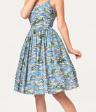 Bernie Dexter 1950s Multicolor Monet Water Lilies Chelsea Swing Dress