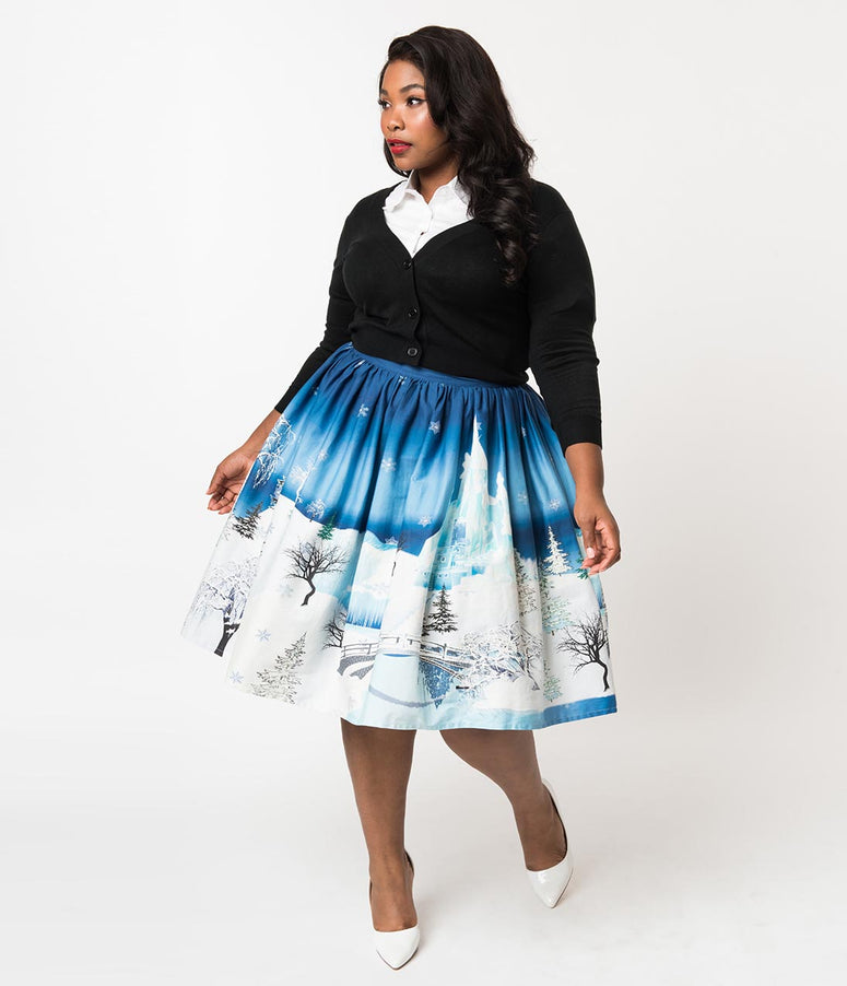 Unique Vintage Plus Size 1950s Blue & White Winter Kingdom High Waist Circle Swing Skirt