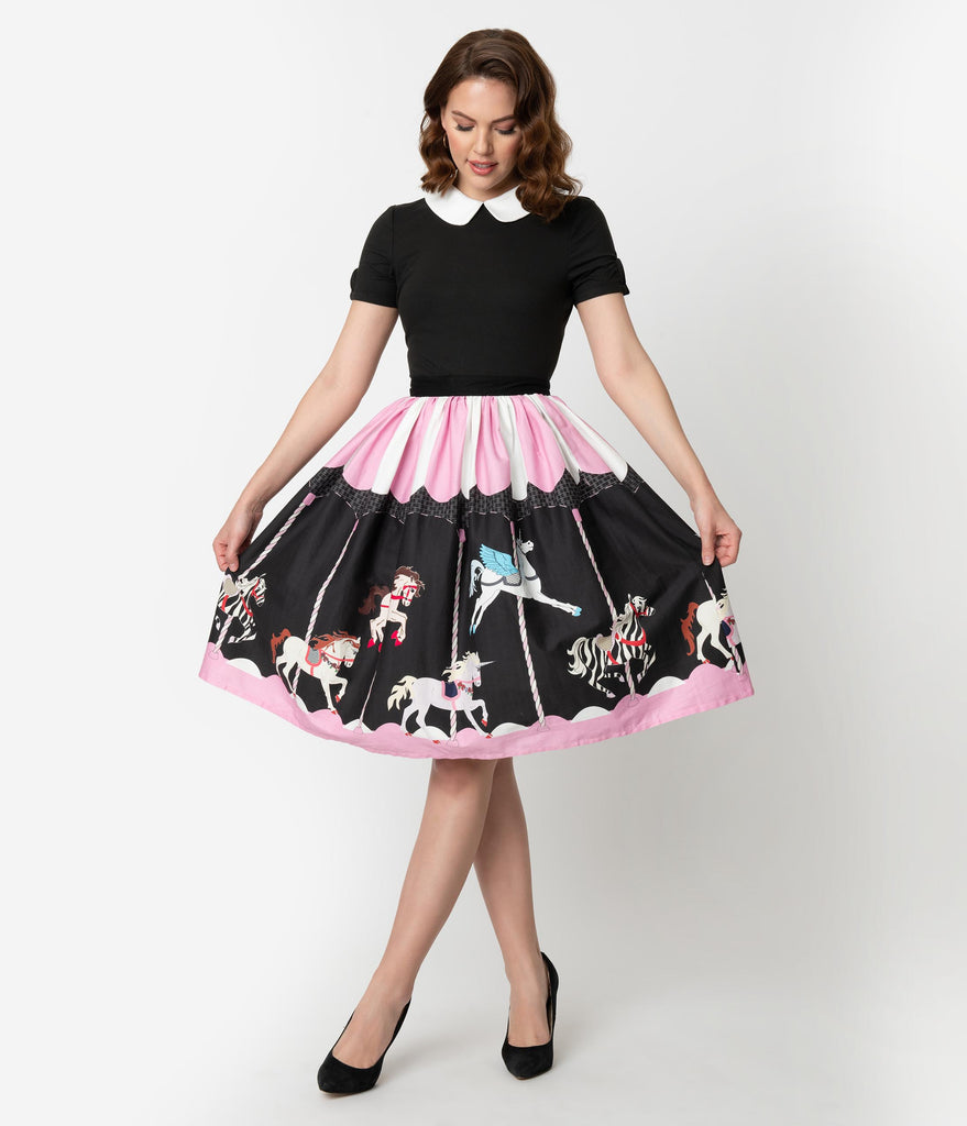 Unique Vintage 1950s Pink & Black Carousel High Waist Circle Swing Skirt