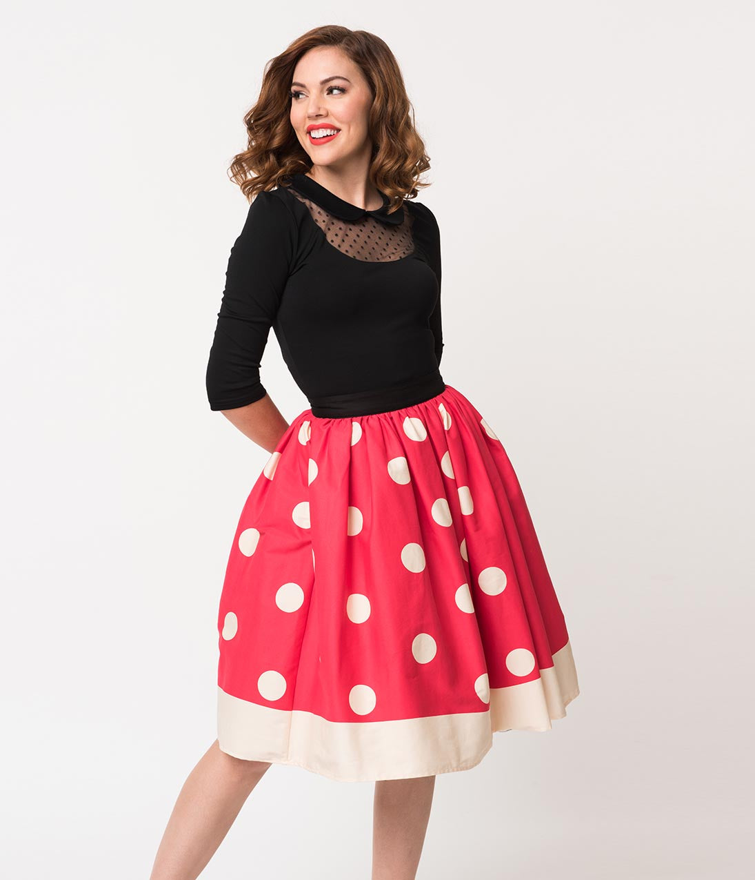 1950s Costumes- Poodle Skirts, Grease, Monroe, Pin Up, I Love Lucy Unique Vintage 1950S Red  Ivory Polka Dot High Waist Circle Swing Skirt $54.00 AT vintagedancer.com