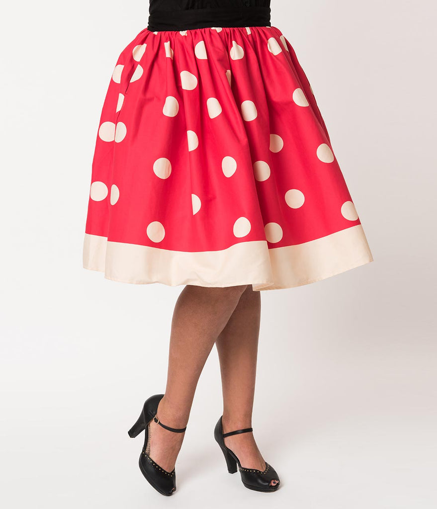 a612b15583e1 ... Unique Vintage Plus Size 1950s Red & Ivory Polka Dot High Waist Circle Swing  Skirt ...