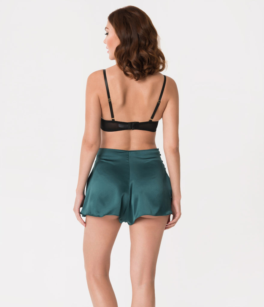 Bettie Page Vintage Style Teal Green French Button Up Knicker