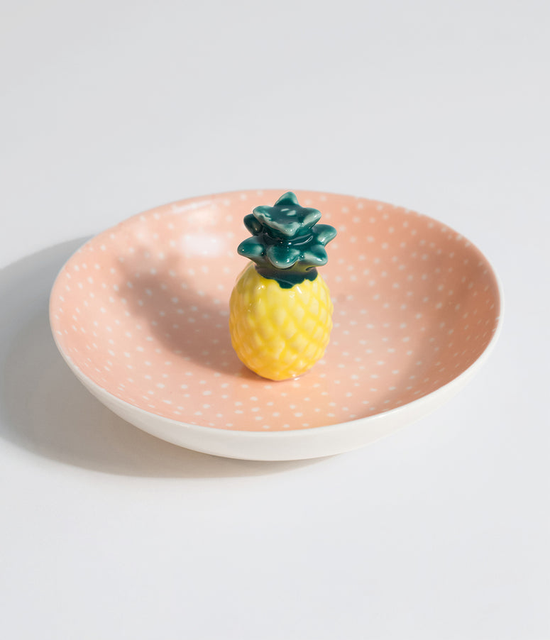 Tropical Pineapple Porcelain Trinket Dish