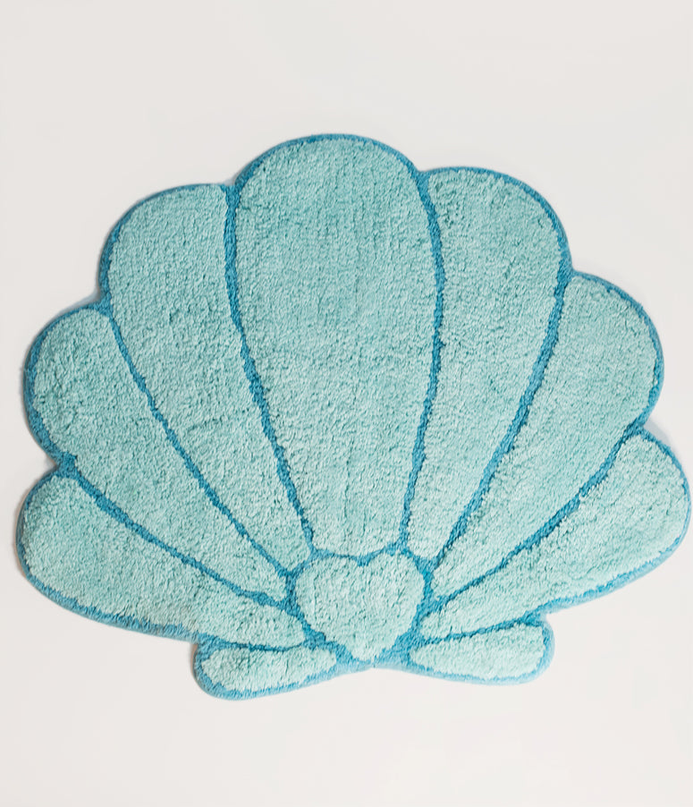Aqua Blue Mermaid Treasures Shell Cotton Rug