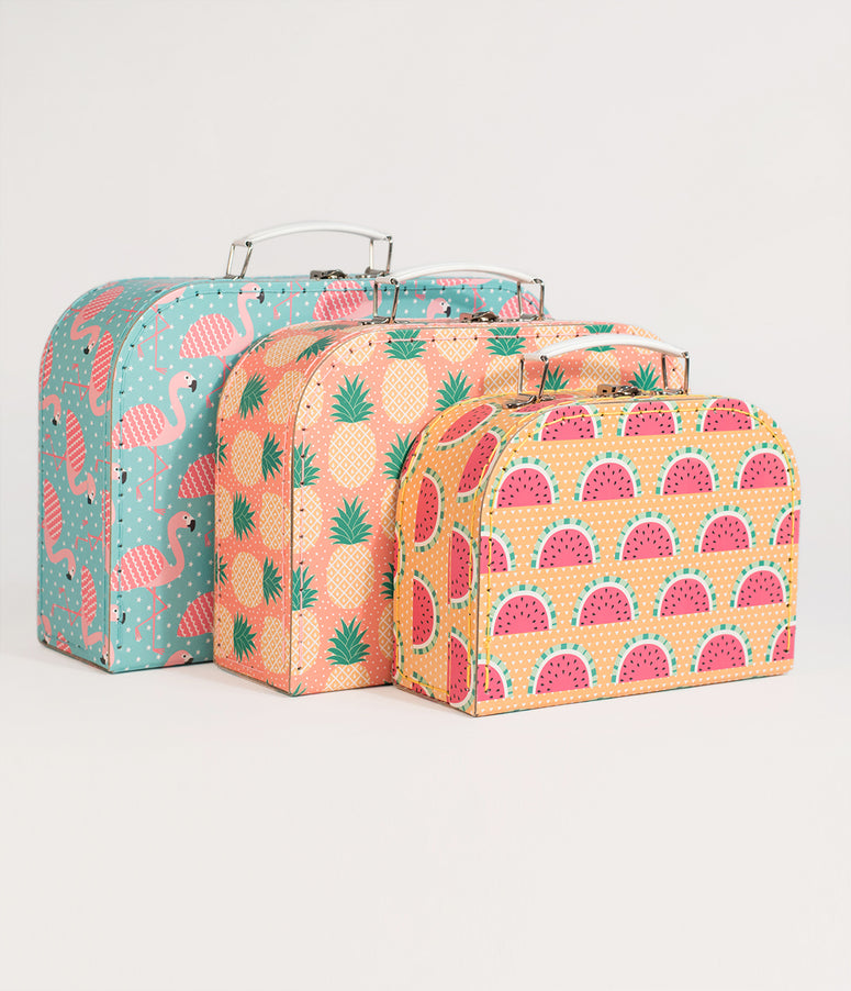 Tropical Summer Paper Suitcase Set