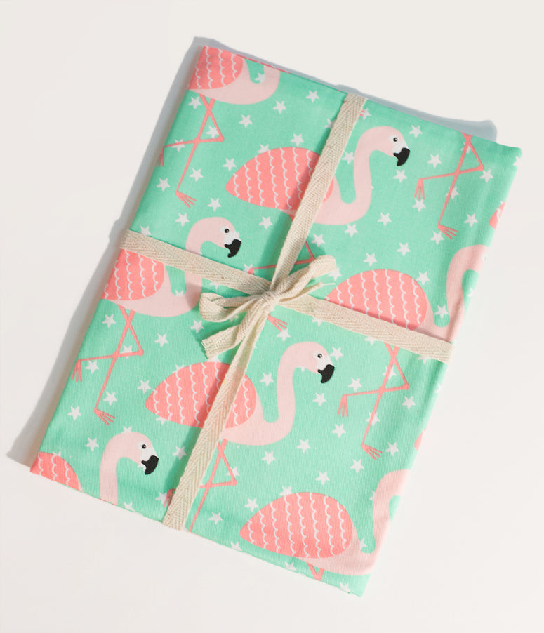 Tropical Mint & Pink Flamingo Cotton Twill Tea Towel