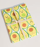 White & Yellow Happy Avocado Cotton Twill Tea Towel