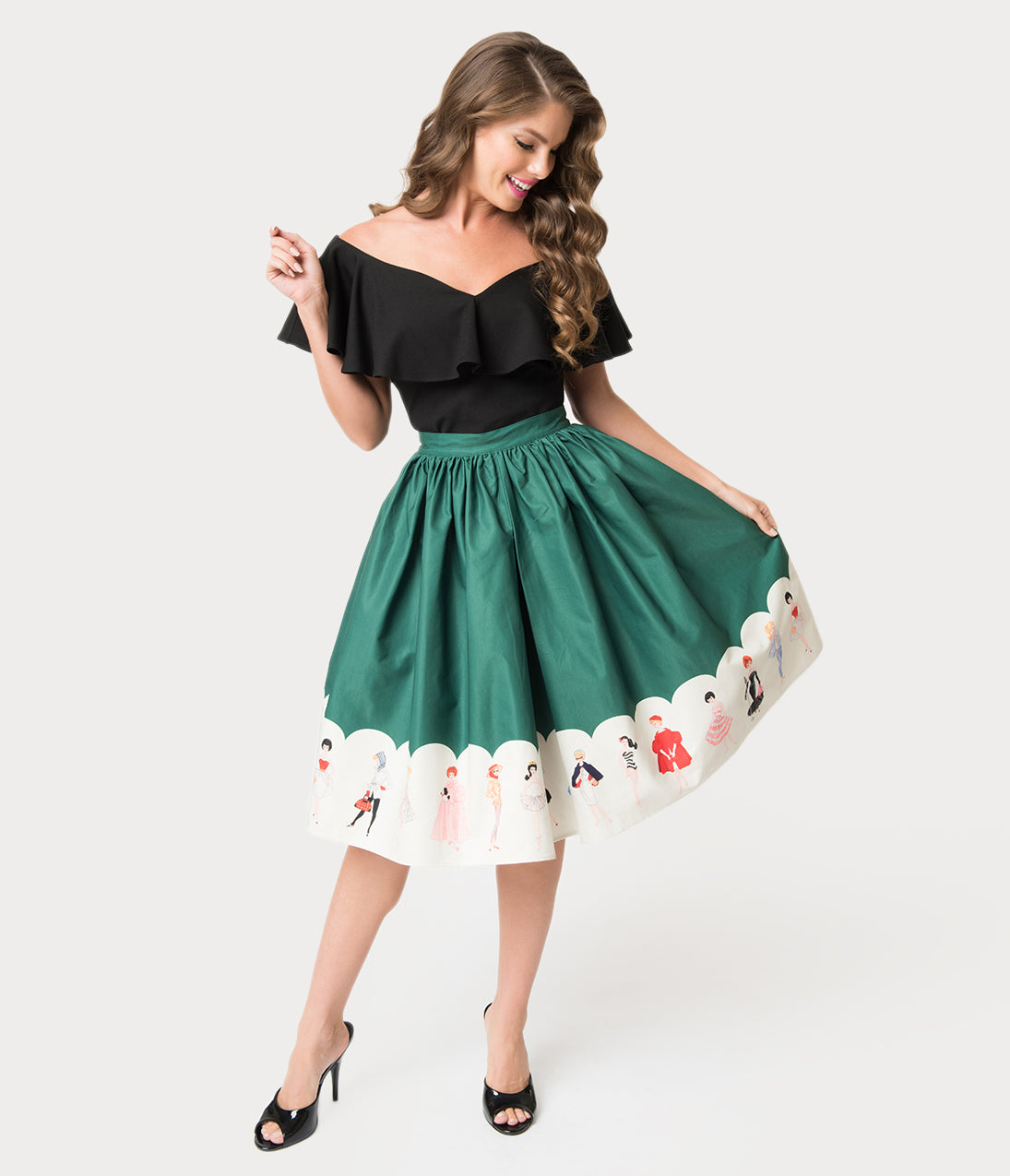 Vintage Christmas Dress | Party Dresses | Night Out Outfits Barbie X Unique Vintage Green My Barbie Collection Swing Skirt $88.00 AT vintagedancer.com