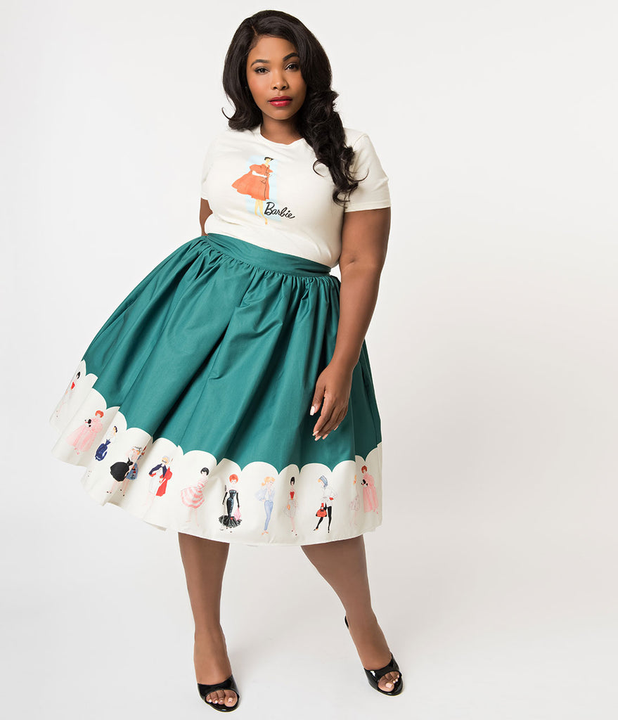 Barbie x Unique Vintage Plus Size Green My Barbie Collection Swing Skirt