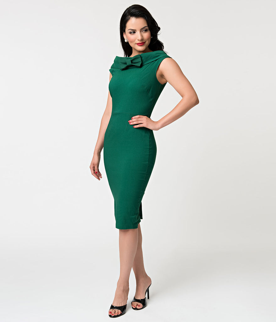 Barbie x Unique Vintage 1960s Style Green Sheath Dress