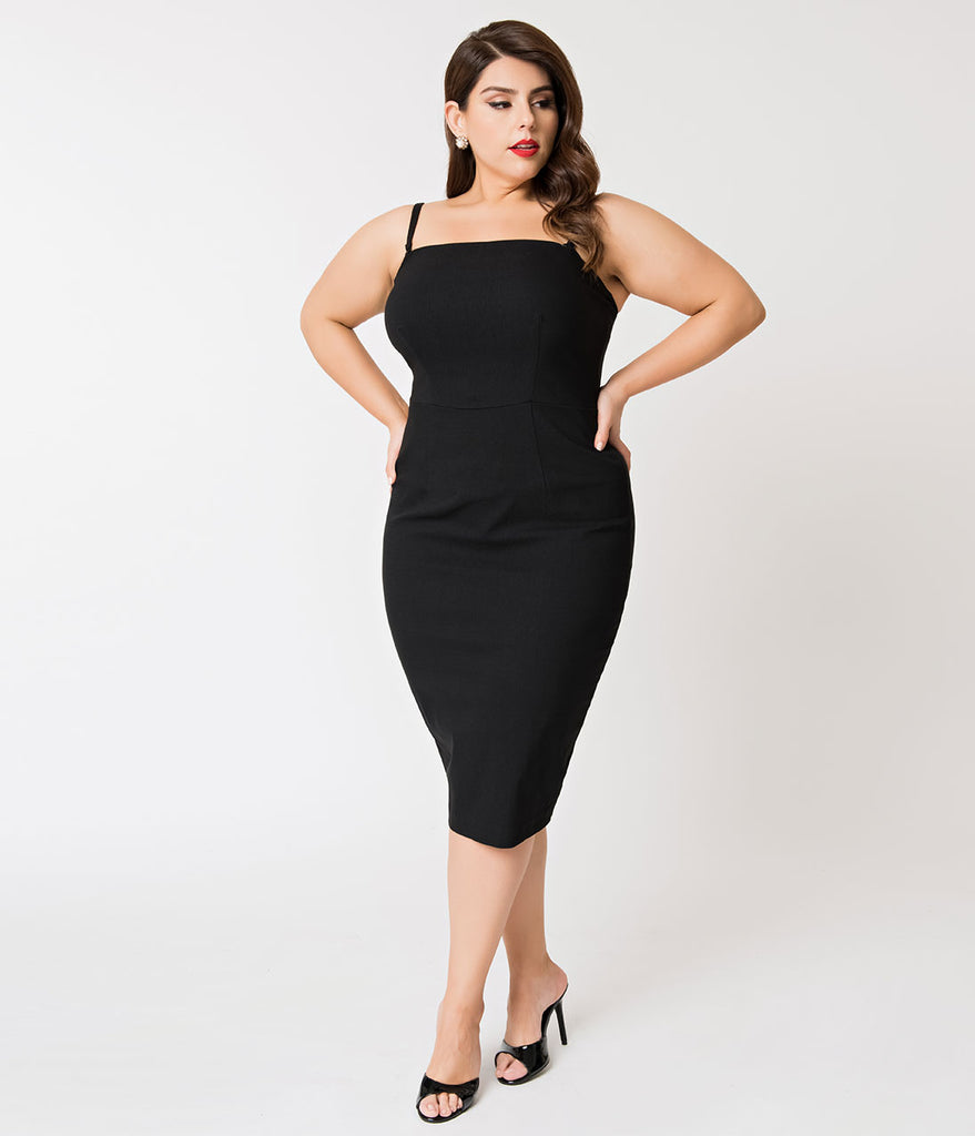 Barbie x Unique Vintage Plus Size Black Magic Sheath Dress & Cape Set