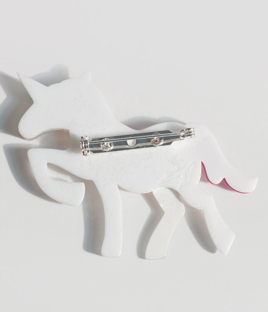 Erstwilder White Glitter Ula The Unicorn Resin Brooch Pin